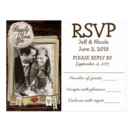 Rustic Couple Photo Country Wedding RSVP Postcard