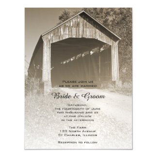 Rustic Covered Bridge Country Wedding Magnetic Invitations