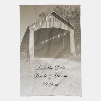 Rustic Covered Bridge Wedding Save the Date Tea Towels