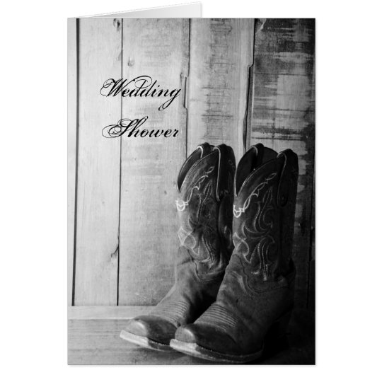 Rustic Cowboy Boots Couples Wedding Shower Invite Card