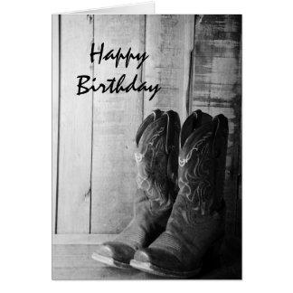 Rustic Cowboy Boots Happy Birthday Card