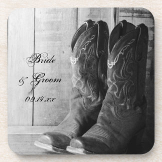 Rustic Cowboy Boots Western Wedding Beverage Coasters