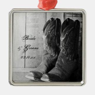 Rustic Cowboy Boots Western Wedding Christmas Ornament