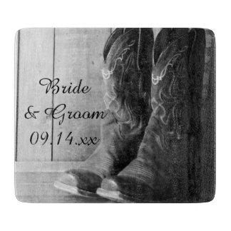 Rustic Cowboy Boots Western Wedding Cutting Board