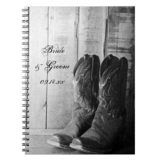 Rustic Cowboy Boots Western Wedding Notebooks