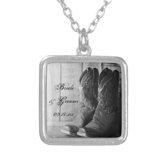 Rustic Cowboy Boots Western Wedding Silver Plated Necklace
