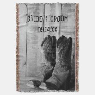 Rustic Cowboy Boots Western Wedding Throw Blanket