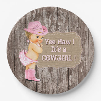Rustic Cowgirl Baby Shower Paper Plate