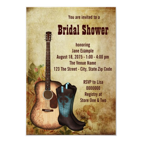 Rustic Cowgirl Bridal Shower Card
