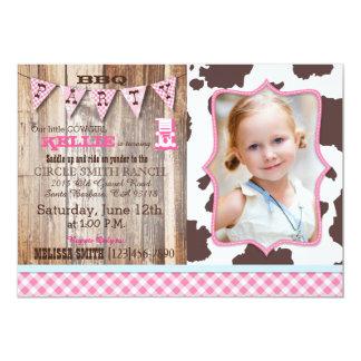 Rustic Cowgirl Western Theme Birthday Invitations