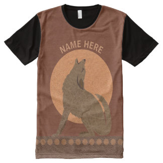 Rustic Coyote Southwest Faux Leather Fashion All-Over Print T-Shirt