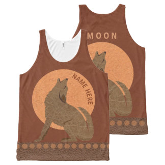Rustic Coyote Southwest Faux Leather M O O N All-Over Print Tank Top