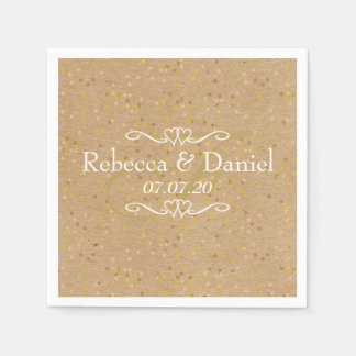 Rustic Craft Gold Dust Confetti Wedding Disposable Napkin