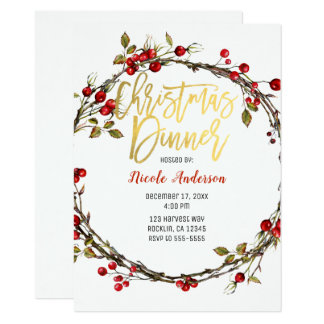 Rustic Cranberry Berries Wreath Christmas Dinner Card