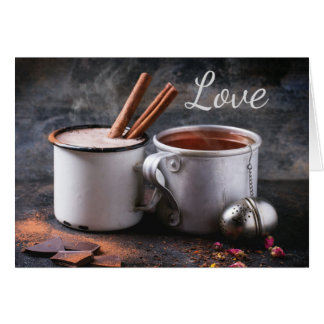 Rustic Cup of Tea and Hot Chocolate in Love Greeting Card