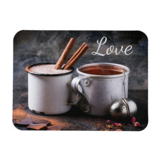 Rustic Cup of Tea and Hot Chocolate in Love Rectangular Photo Magnet
