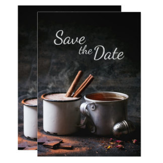 Rustic Cup of Tea and Hot Chocolate Save the Date 13 Cm X 18 Cm Invitation Card