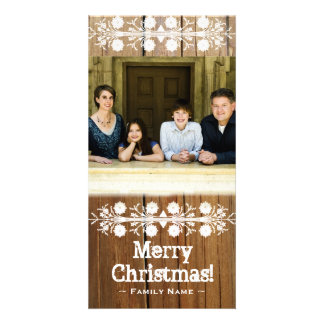 Rustic Cut Wood Frame Photo Christmas Card Personalised Photo Card