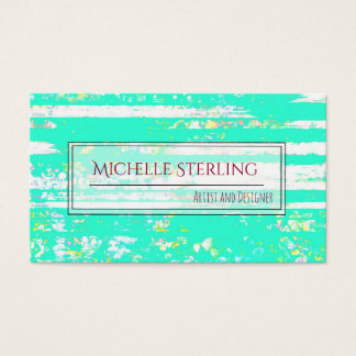 Rustic Cute Aqua and White Chipped Paint Business Card