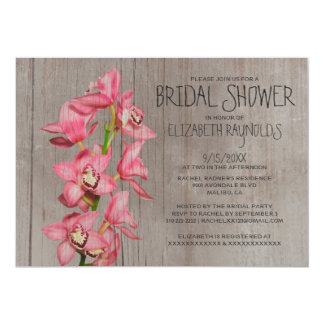 Rustic Cymbidium Orchid Bridal Shower Invitations