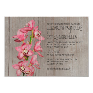 Rustic Cymbidium Orchid Wedding Invitations