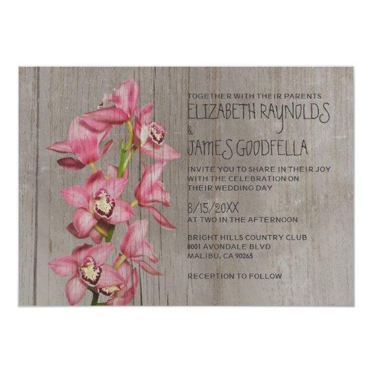 Rustic Cymbidium Orchid Wedding Invitations