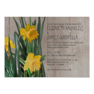Rustic Daffodils Wedding Invitations