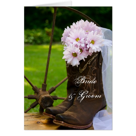 Rustic Daisies Cowboy Boots Wedding Invitation