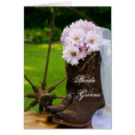 Rustic Daisies Cowboy Boots Wedding Invitation Greeting Card