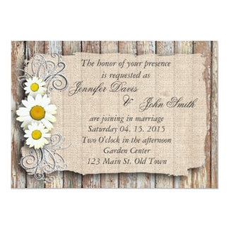 Rustic daisy barn wood wedding invite