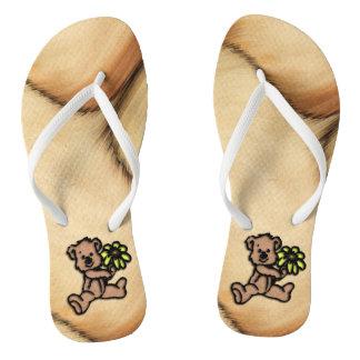 Rustic Daisy Bear Design Flip Flops