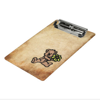 Rustic Daisy Bear Design Mini Clipboard