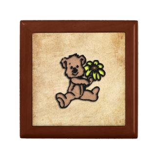 Rustic Daisy Bear Design Small Square Gift Box