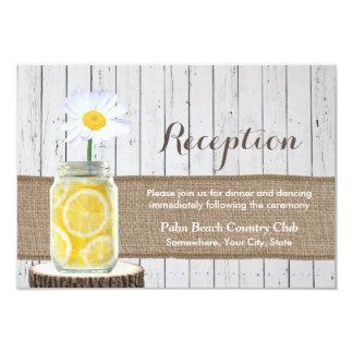 Rustic Daisy Flower & Mason Jar Wedding Reception Card