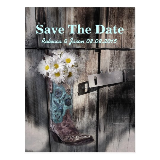 rustic daisy western country wedding save the date postcard