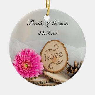 Rustic Daisy Woodland Wedding Bridesmaid Thank You Christmas Ornament