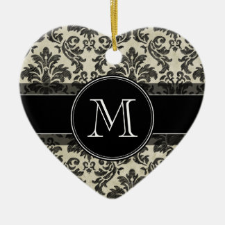 Rustic Damask Pattern in Black and Parchment Ceramic Heart Decoration