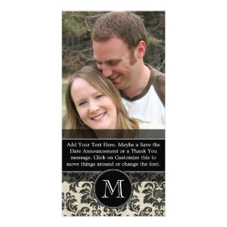Rustic Damask Pattern in Black and Parchment Customized Photo Card
