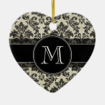 Rustic Damask Pattern in Black and Parchment Christmas Tree Ornaments