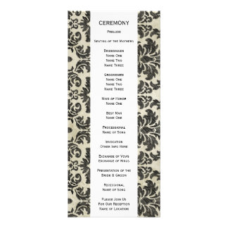 Rustic Damask Pattern in Black and Parchment Rack Card