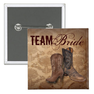 rustic damask Western Cowboy wedding team bride 15 Cm Square Badge