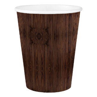 Rustic Dark Brown Wood Wooden Fence Country Style Paper Cup