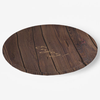 Rustic Dark Brown Wood Wooden Fence Country Style Paper Plate