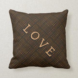 Rustic Dark Burlap Golden Glow Love Throw Cushion