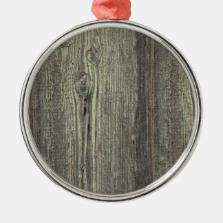 Rustic Dark Weathered Wood Background Christmas Ornament