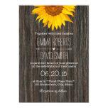 Rustic Dark Wood Background Sunflower Wedding 13 Cm X 18 Cm Invitation Card