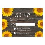 Rustic Dark Wood Background Sunflower Wedding RSVP 9 Cm X 13 Cm Invitation Card