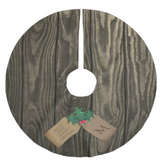 Rustic Dark Wood Hippy Christmas Tree Skirt Brushed Polyester Tree Skirt