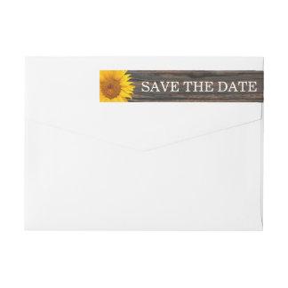 Rustic Dark Wood & Sunflower Wedding Save the Date Wrap Around Label