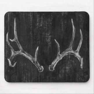 Rustic Deer Animal Head on Chalkboard Mouse Pad
